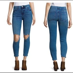 Free People Busted Knee Skinny Ankle Jeans 32 NWT